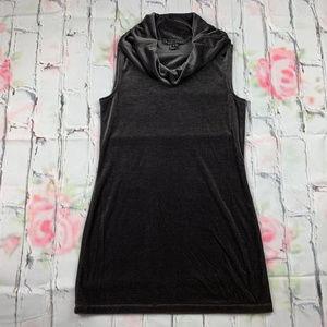 Yansi Fugel velvet cowl neck tunic mini dress A25